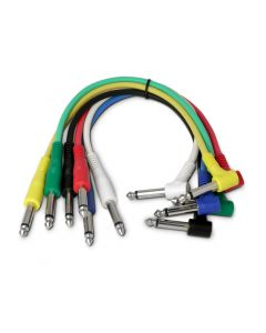 6 Snakebite Professional Patch Cables. Mono, straight to right angled, jack to jack connectors. Ideal for linking guitar effects pedals or use on studio patchbays