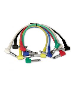 6 Snakebite Professional Patch Cables. Mono, right angled, jack to jack connectors. Ideal for linking guitar effects pedals or use on studio patchbays